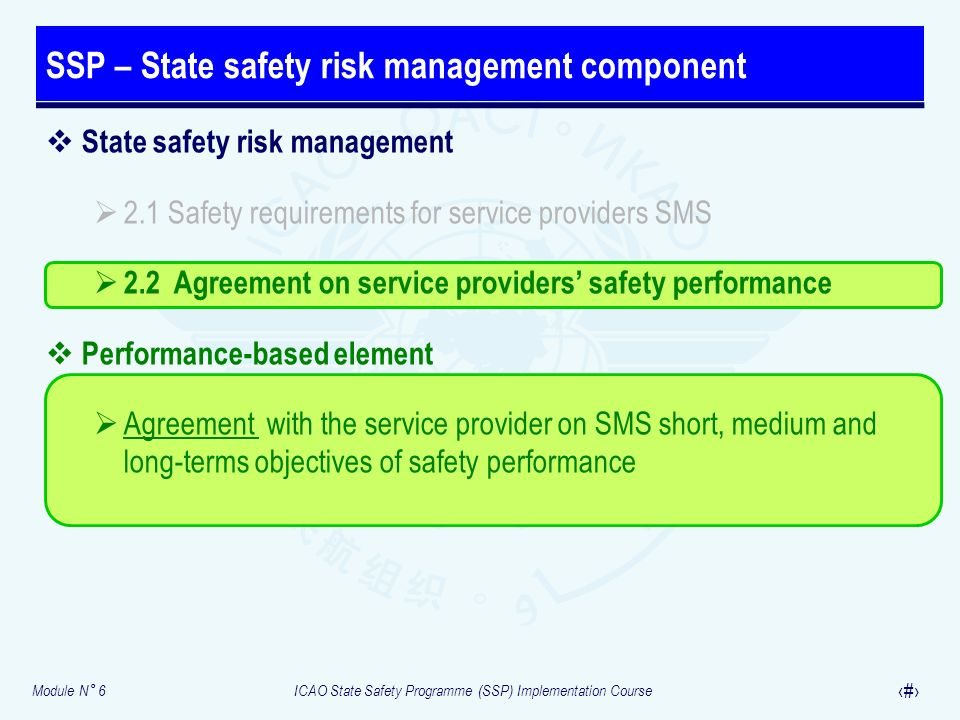 SSP – State safety risk management component
