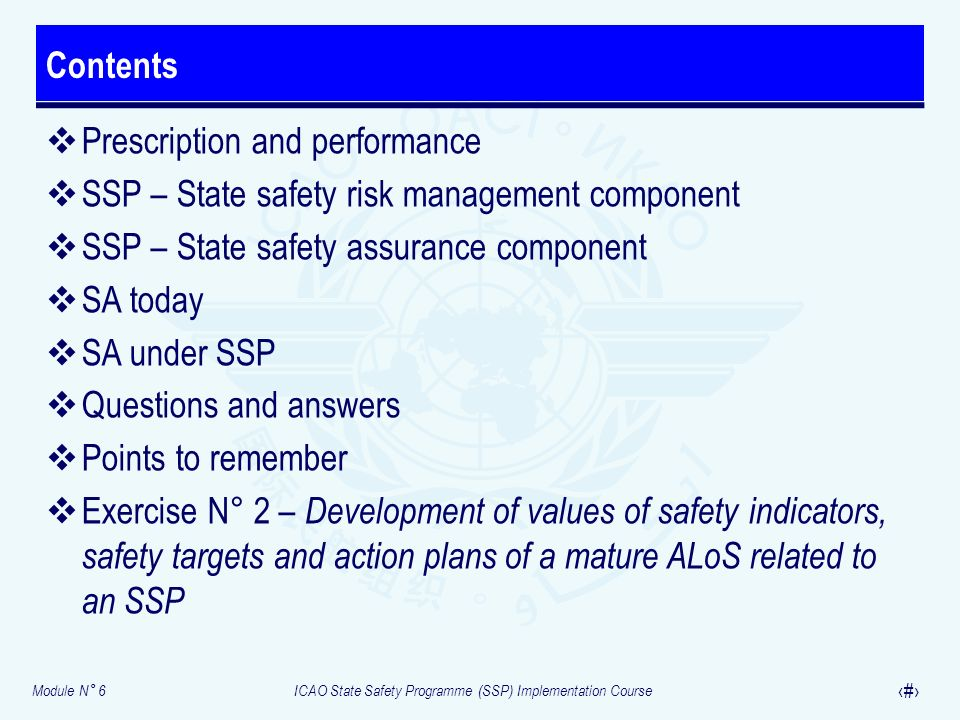 Contents Prescription and performance. SSP – State safety risk management component. SSP – State safety assurance component.