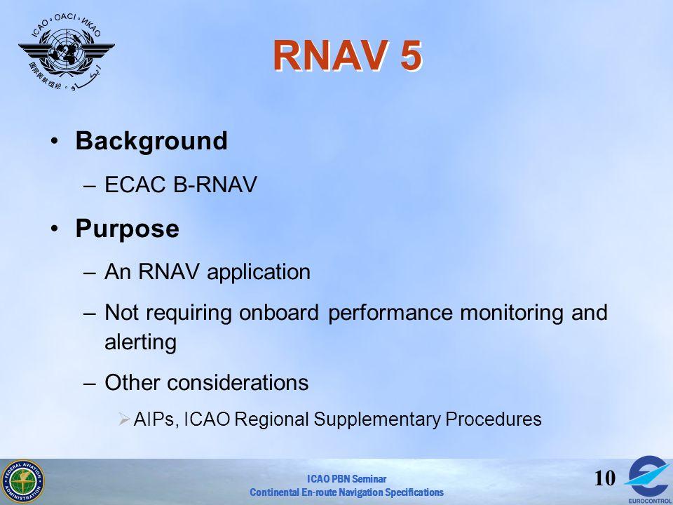 RNAV 5 Background Purpose ECAC B-RNAV An RNAV application
