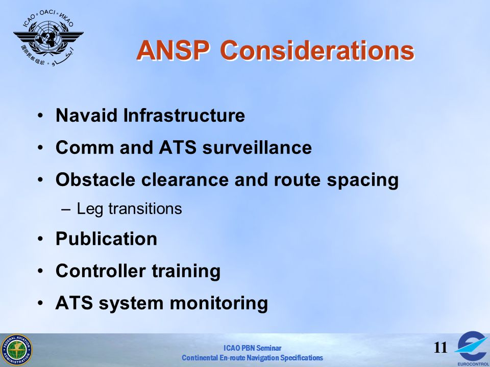 ANSP Considerations Navaid Infrastructure Comm and ATS surveillance