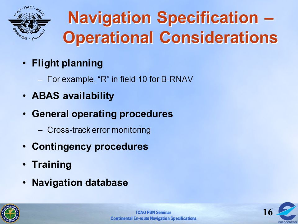 Navigation Specification – Operational Considerations