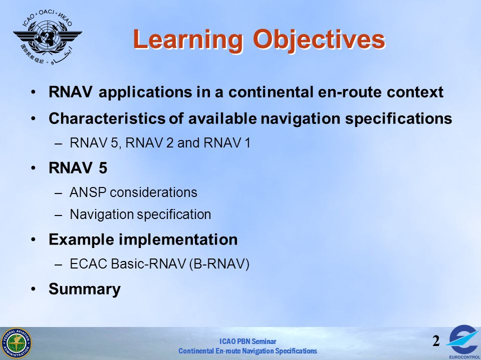 Learning Objectives RNAV applications in a continental en-route context. Characteristics of available navigation specifications.