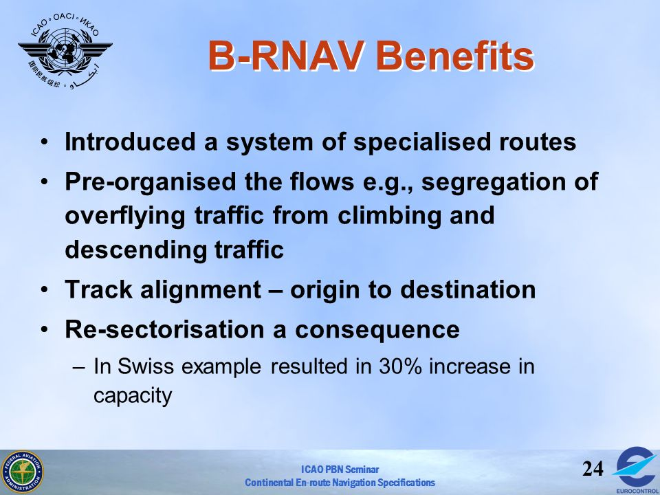 B-RNAV Benefits Introduced a system of specialised routes
