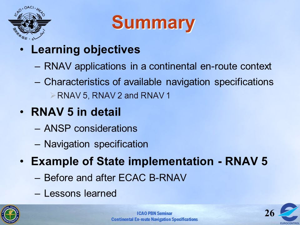 Summary Learning objectives RNAV 5 in detail