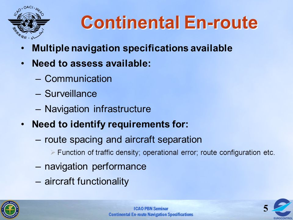Continental En-route Multiple navigation specifications available