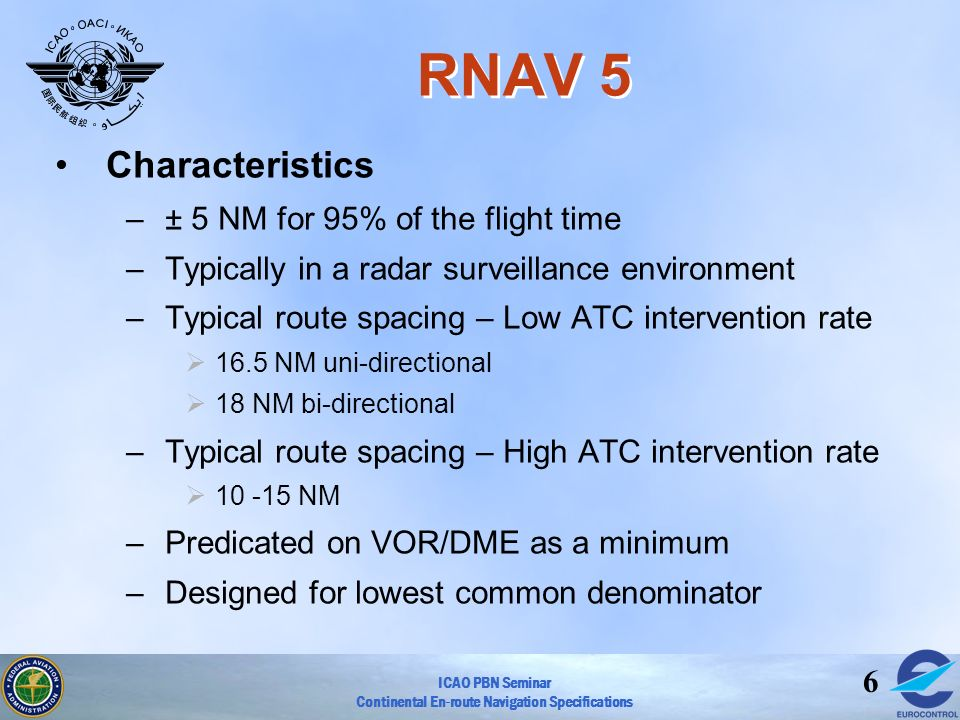 RNAV 5 Characteristics ± 5 NM for 95% of the flight time