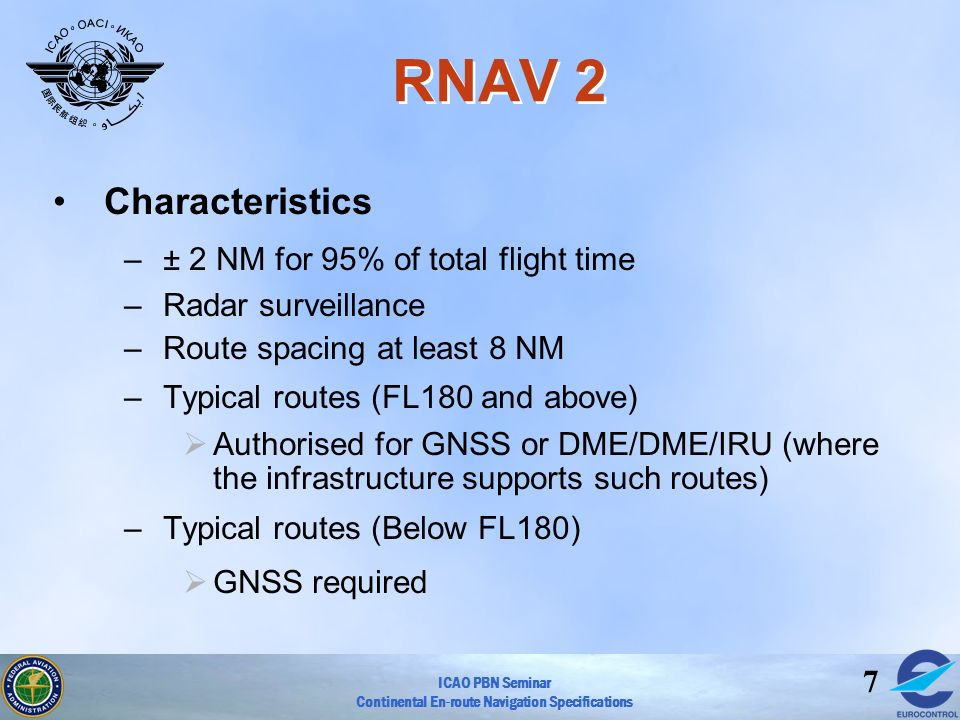 RNAV 2 Characteristics ± 2 NM for 95% of total flight time