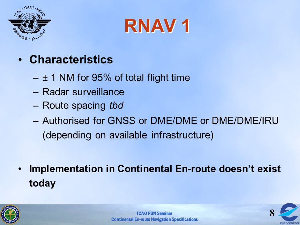 RNAV 1 Characteristics ± 1 NM for 95% of total flight time