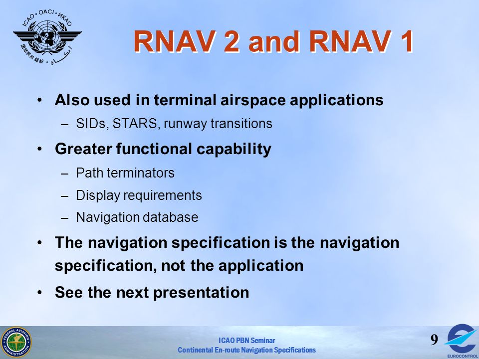 RNAV 2 and RNAV 1 Also used in terminal airspace applications