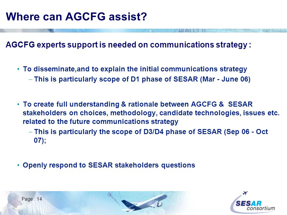 Where can AGCFG assist AGCFG experts support is needed on communications strategy :