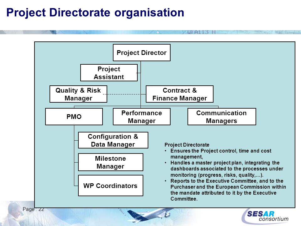 Project Directorate organisation