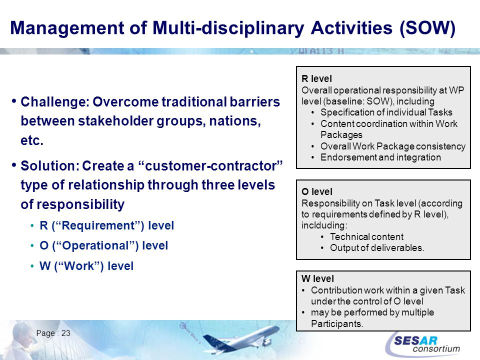Management of Multi-disciplinary Activities (SOW)