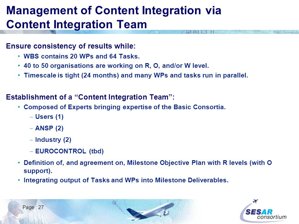 Management of Content Integration via Content Integration Team