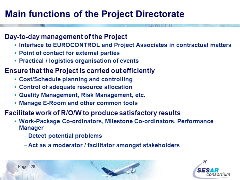 Main functions of the Project Directorate