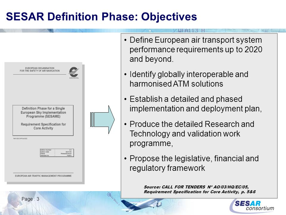 SESAR Definition Phase: Objectives