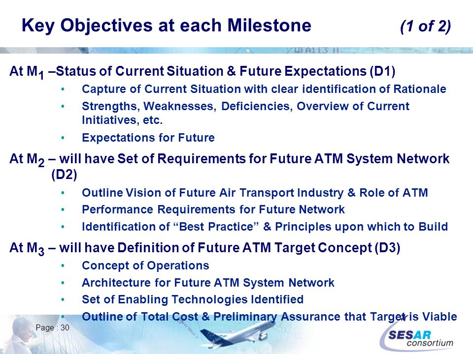 Key Objectives at each Milestone (1 of 2)