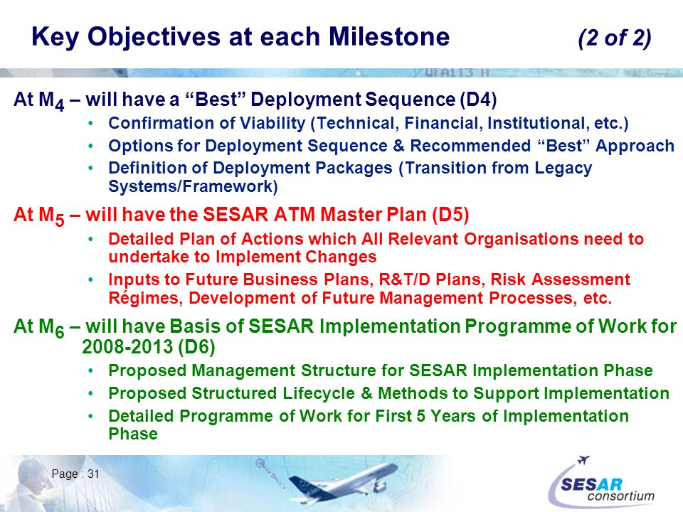 Key Objectives at each Milestone (2 of 2)