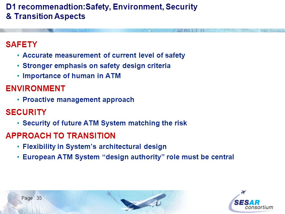 D1 recommenadtion:Safety, Environment, Security & Transition Aspects