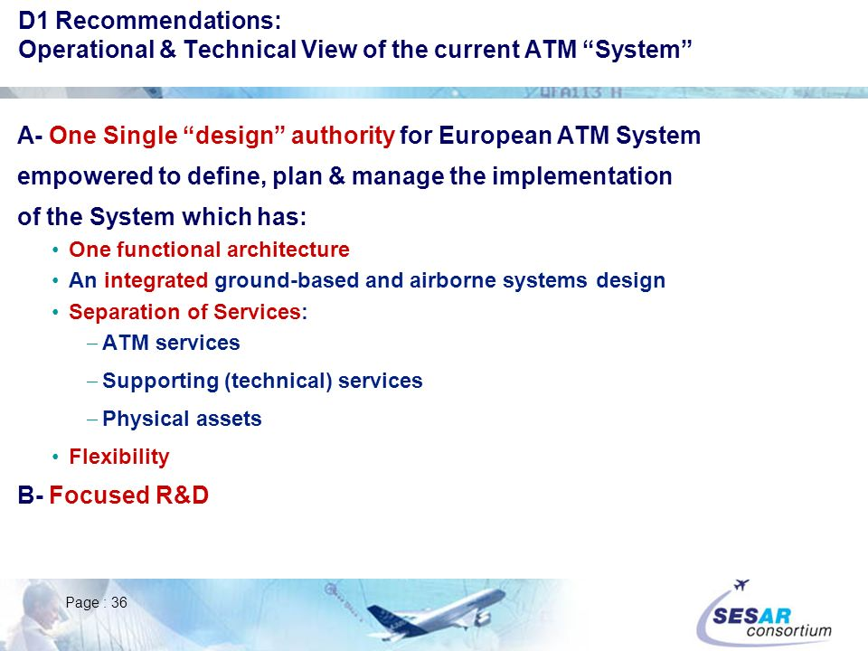 A- One Single design authority for European ATM System