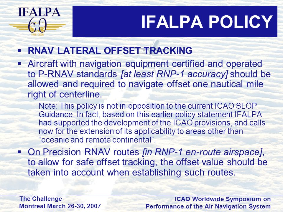 IFALPA POLICY RNAV LATERAL OFFSET TRACKING