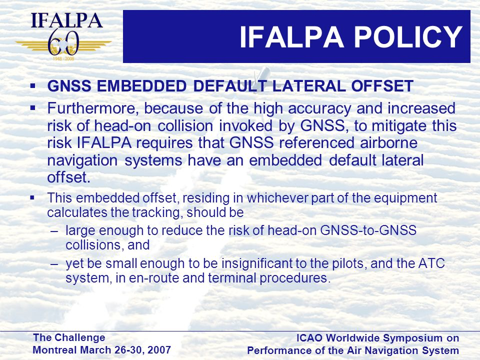 IFALPA POLICY GNSS EMBEDDED DEFAULT LATERAL OFFSET