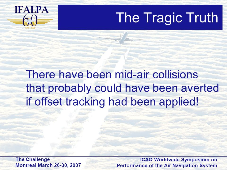 The Tragic Truth There have been mid-air collisions that probably could have been averted if offset tracking had been applied!