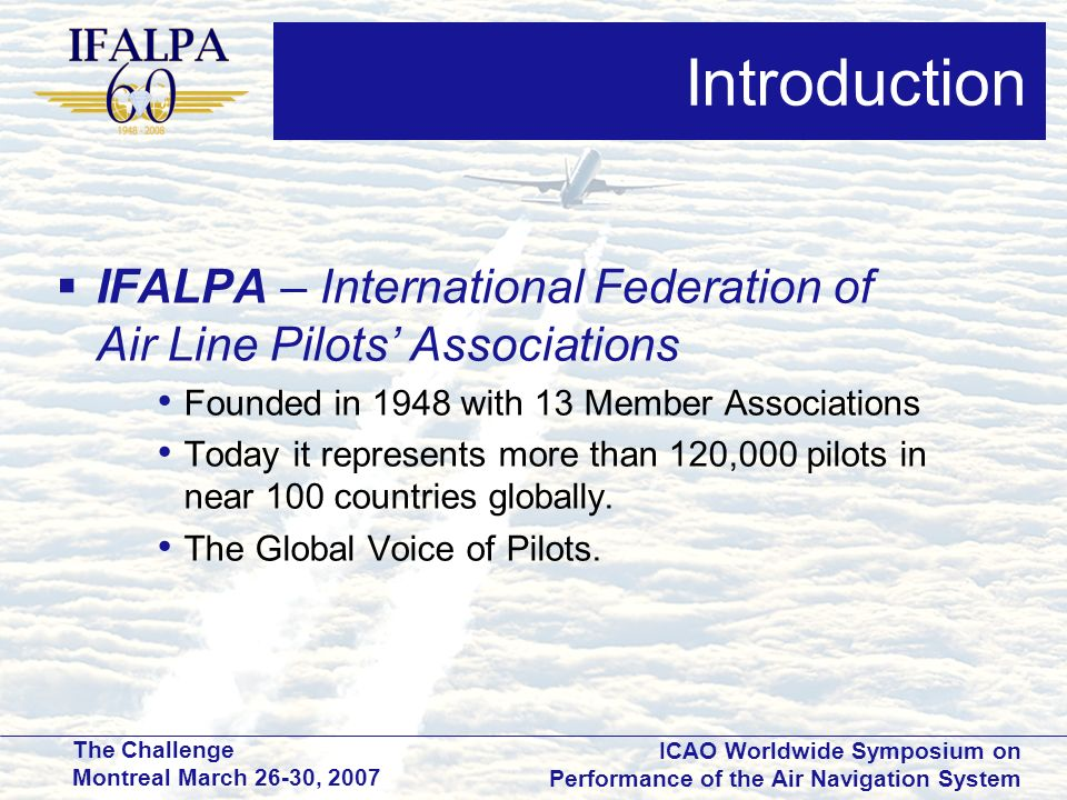 Introduction IFALPA – International Federation of Air Line Pilots' Associations. Founded in 1948 with 13 Member Associations.
