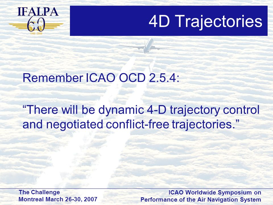 4D Trajectories Remember ICAO OCD 2.5.4: