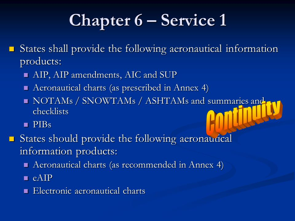 Chapter 6 – Service 1 Continuity