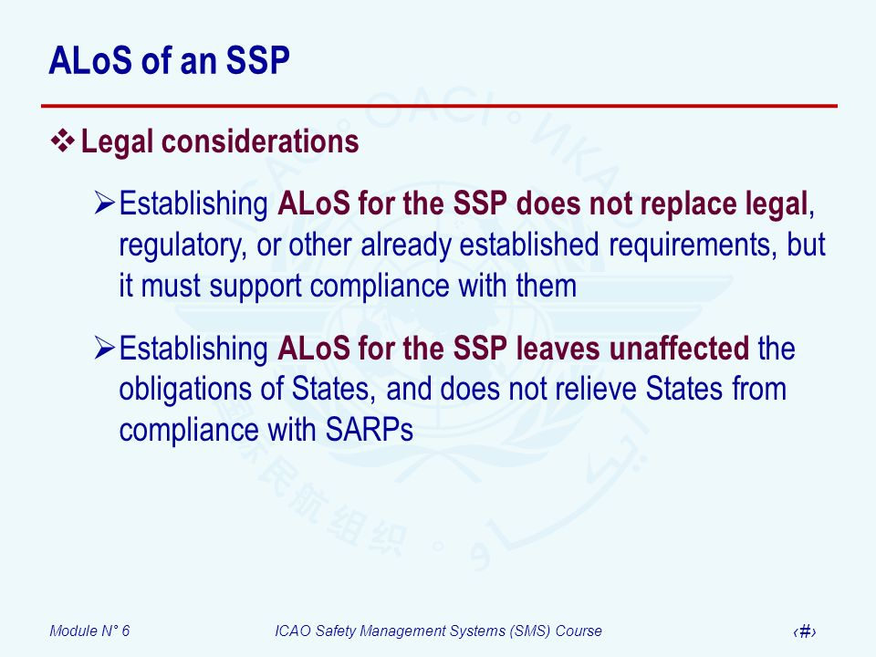 ALoS of an SSP Legal considerations