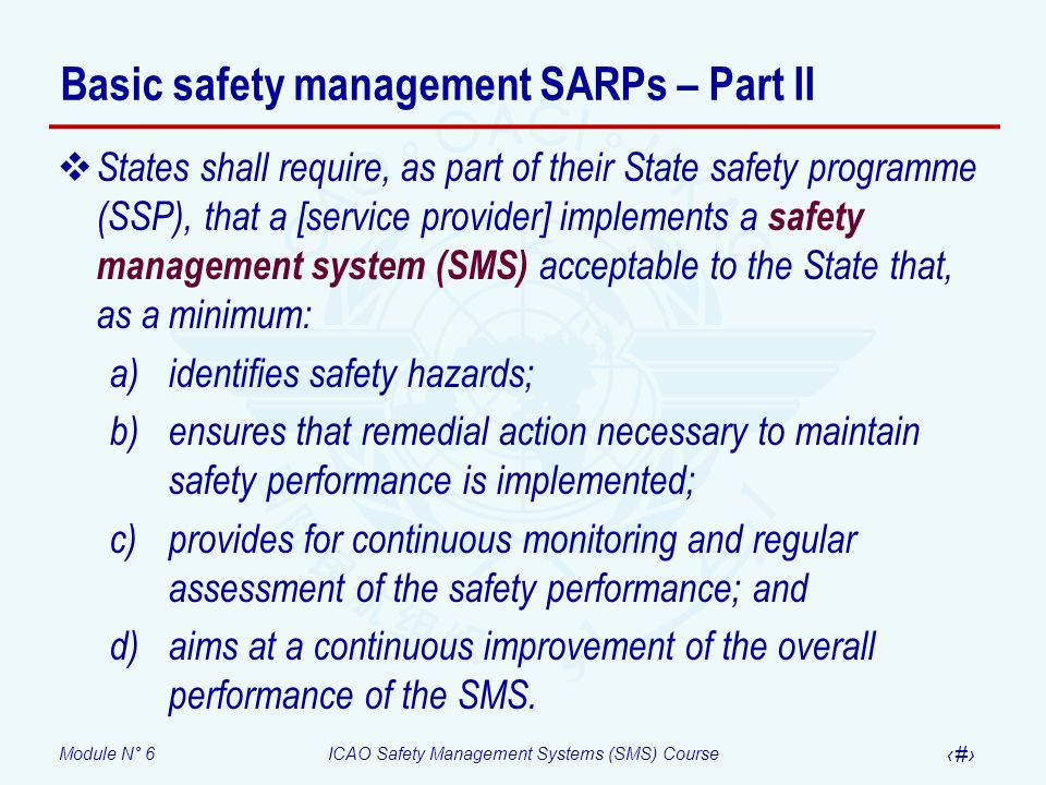 Basic safety management SARPs – Part II