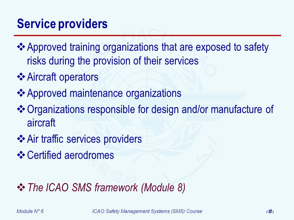 Service providers Approved training organizations that are exposed to safety risks during the provision of their services.