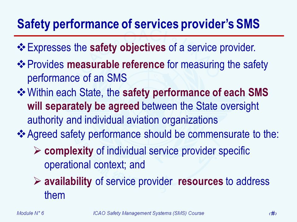 Safety performance of services provider's SMS