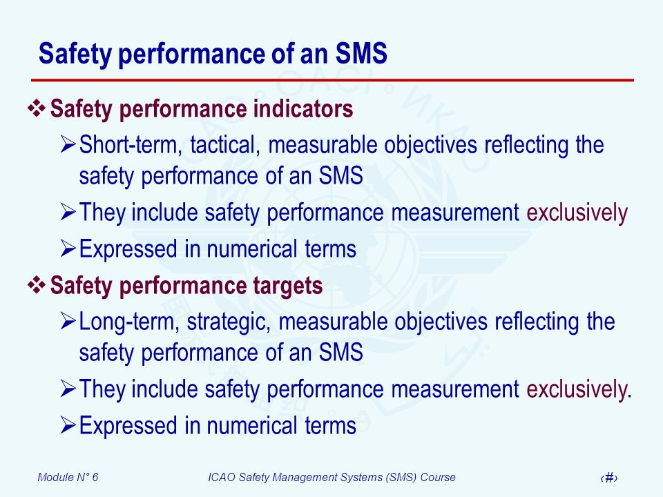 Safety performance of an SMS