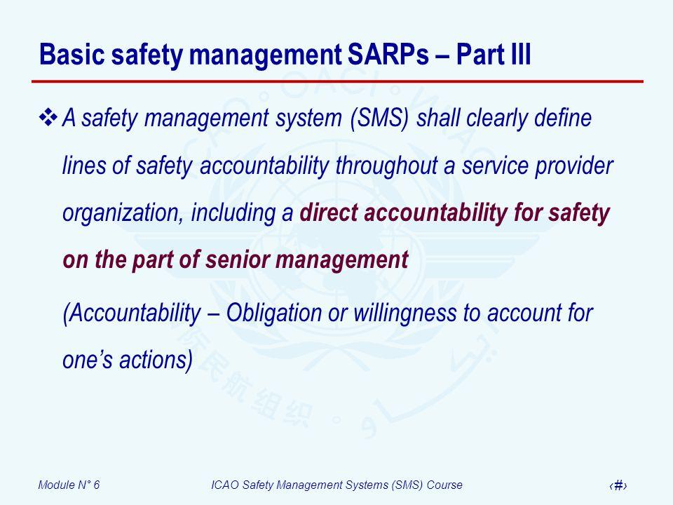 Basic safety management SARPs – Part III