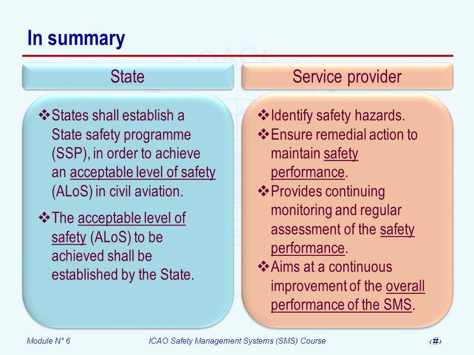 In summary State Service provider