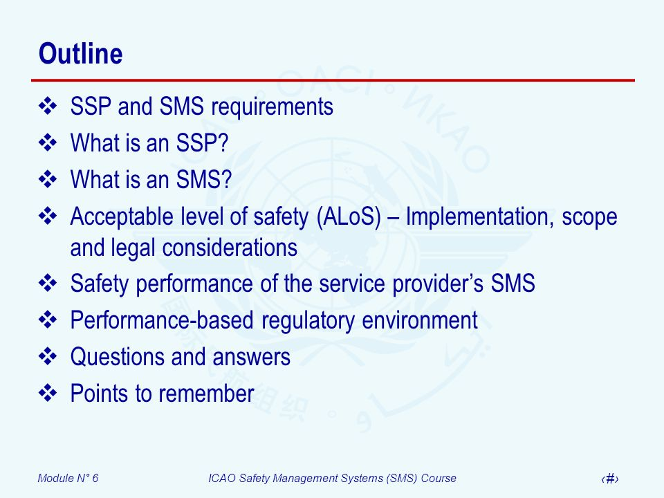 Outline SSP and SMS requirements What is an SSP What is an SMS