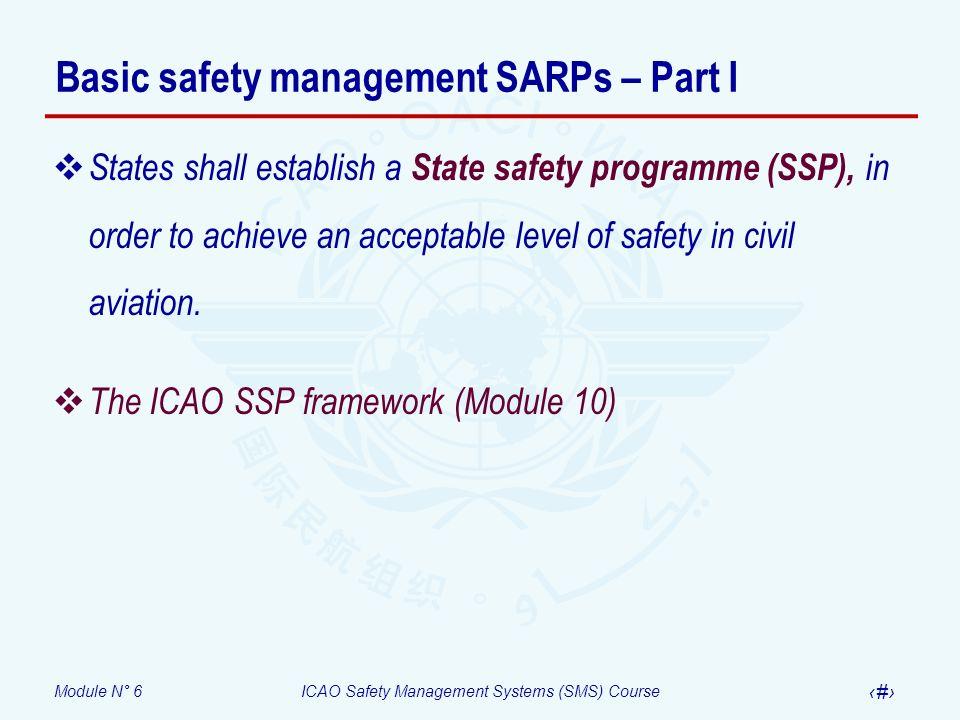 Basic safety management SARPs – Part I