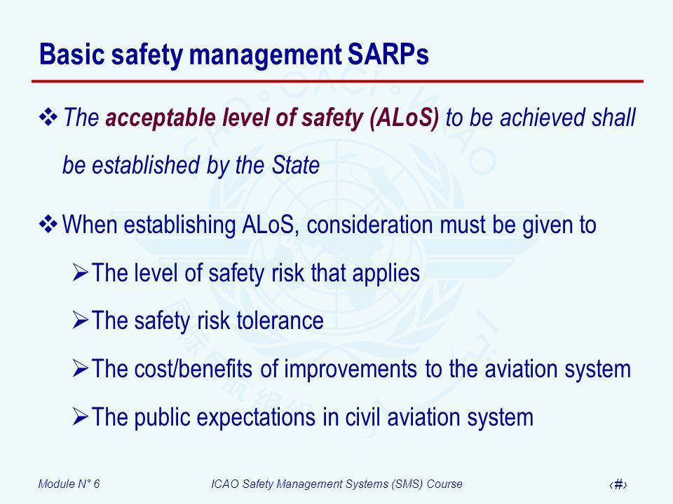 Basic safety management SARPs