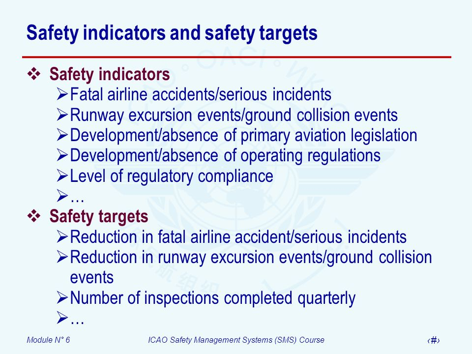 Safety indicators and safety targets