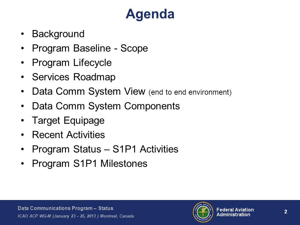 Agenda Background Program Baseline - Scope Program Lifecycle