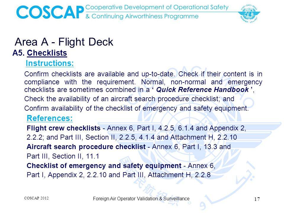 Area A - Flight Deck A5. Checklists Instructions: