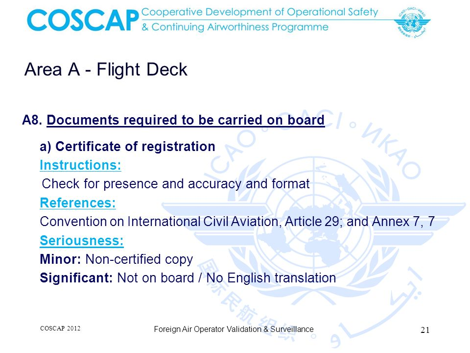 Area A - Flight Deck A8. Documents required to be carried on board