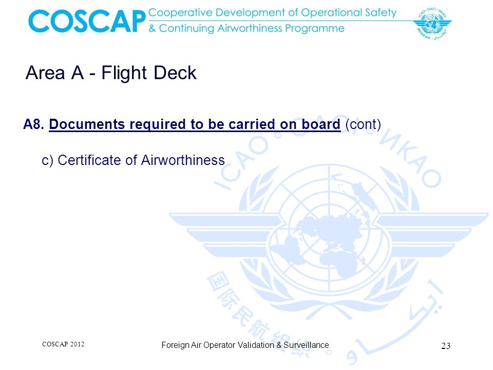 Area A - Flight Deck A8. Documents required to be carried on board (cont) c) Certificate of Airworthiness