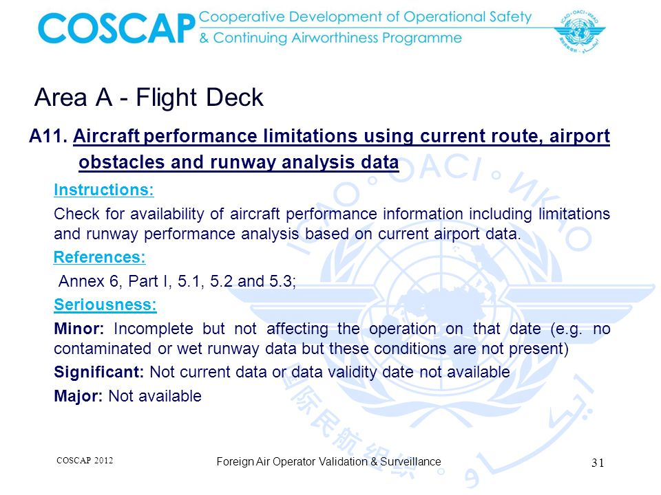 Area A - Flight Deck A11. Aircraft performance limitations using current route, airport. obstacles and runway analysis data.