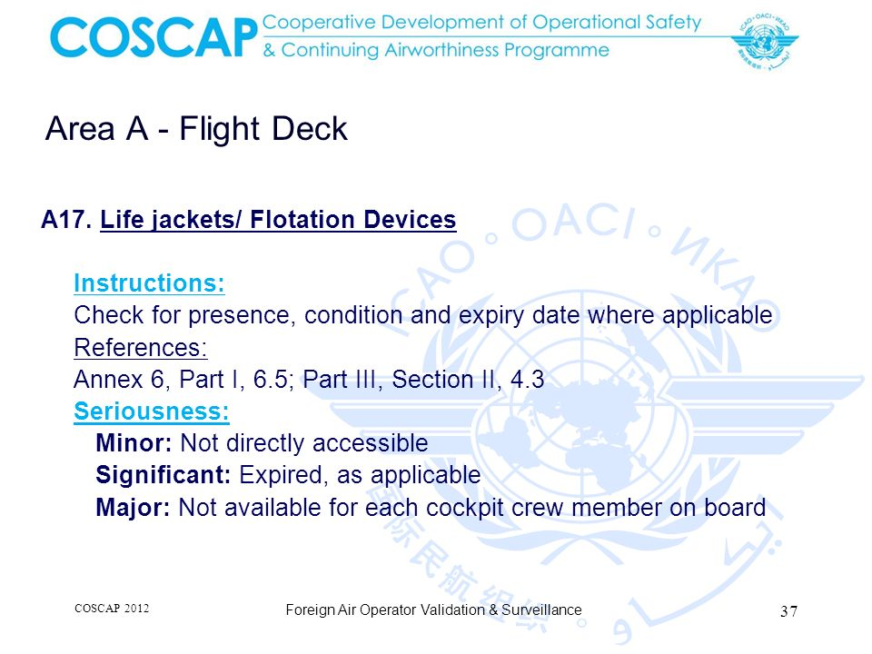 Area A - Flight Deck A17. Life jackets/ Flotation Devices
