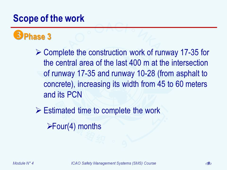 Scope of the work Phase 3.