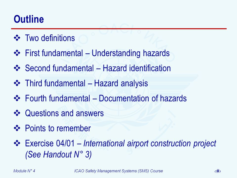 Outline Two definitions First fundamental – Understanding hazards