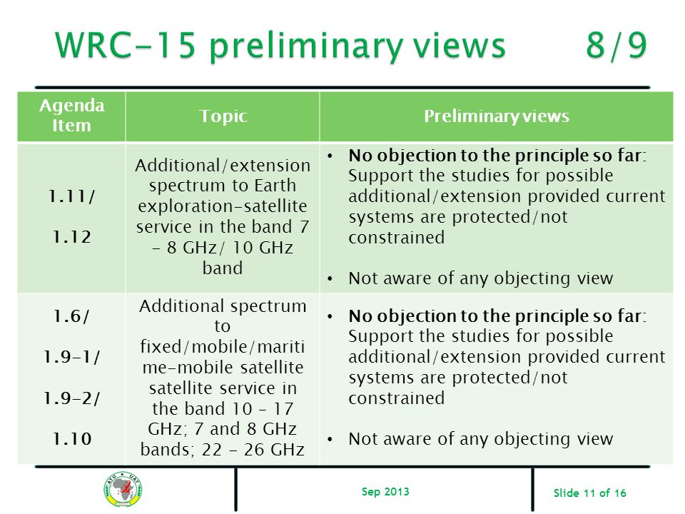 WRC-15 preliminary views 8/9