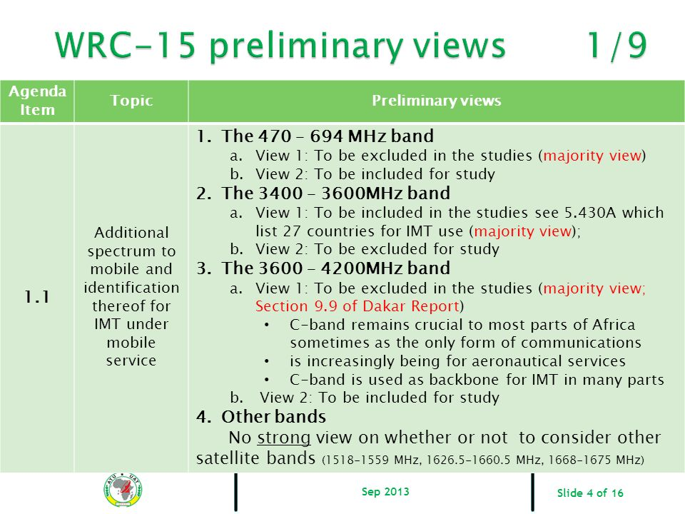WRC-15 preliminary views 1/9